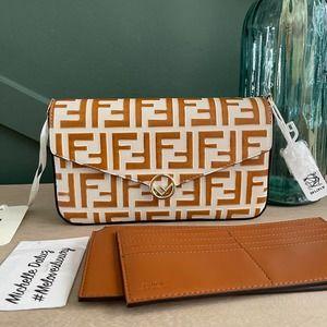 NEW Fendi  F Wallet Chain Bag Pouch  Tan